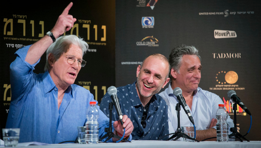 "Actor Richard Gere, Israeli film director Joseph Cedar (center) and Israeli actor Lior Ashkenazi attend a press conference for the new movie ""Norman,"" which stars Gere and Ashkenazi, at the Jerusalem Cinematheque on March 9."