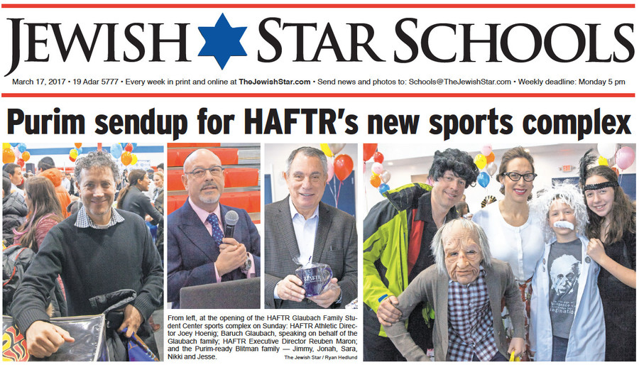 From left, at the opening of the HAFTR Glaubach Family Student Center sports complex on Sunday: HAFTR Athletic Director Joey Hoenig; Baruch Glaubach, speaking on behalf of the Glaubach family; HAFTR Executive Director Reuben Maron; and the Purim-ready Blitman family — Jimmy, Jonah, Sara, Nikki and Jesse.