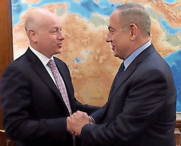 Jason Greenblatt meets Israeli Prime Minister Netanyahu during a visit to Jerusalem on Monday.