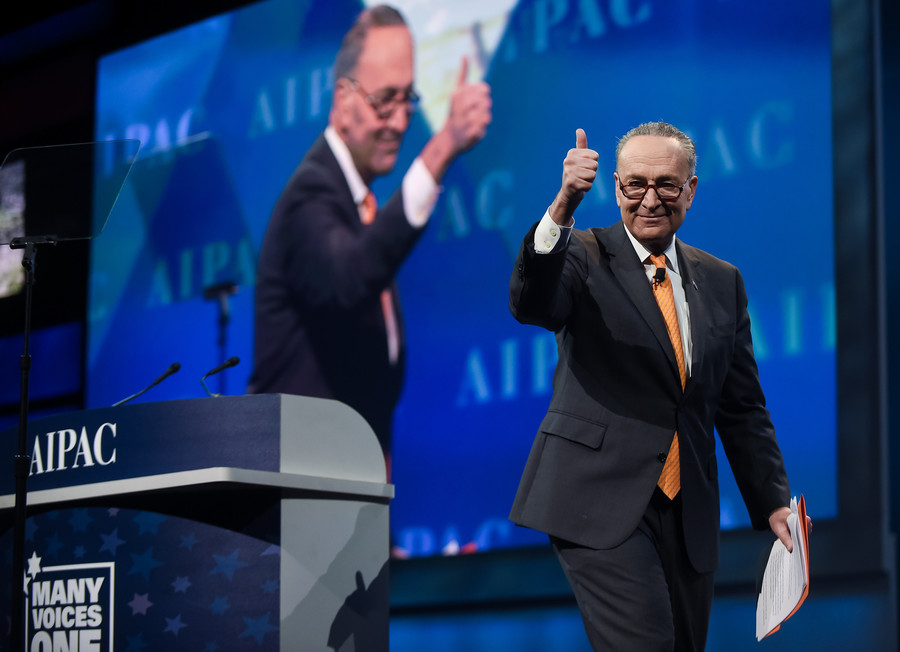 Democrat Charles Schumer, Senate minority leader, at AIPAC on Tuesday.