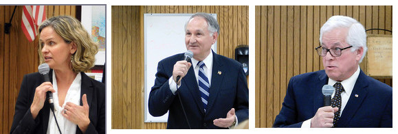 Democratic candidates for Nassau County Executive, from left: Legislator Laura Curran, Comptroller George Maragos, and Assemblyman Charles Lavine.