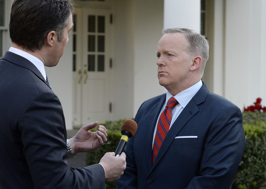 Presidential Press Secretary Sean Spicer apologizes for comments he made suggesting that President Bashar al-Assad of Syria was worse than Hitler, during a TV interview at the White House April 11.