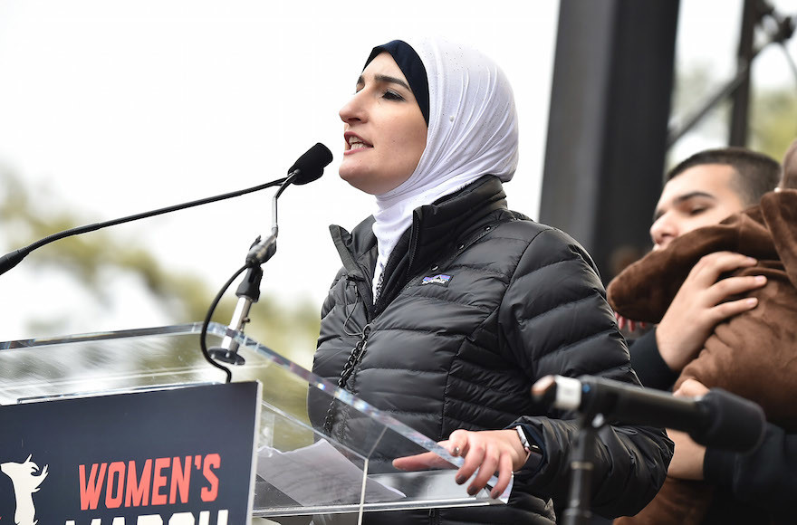 Linda Sarsour speaks onstage at the Women's March on Washington on Jan. 21, 2017.