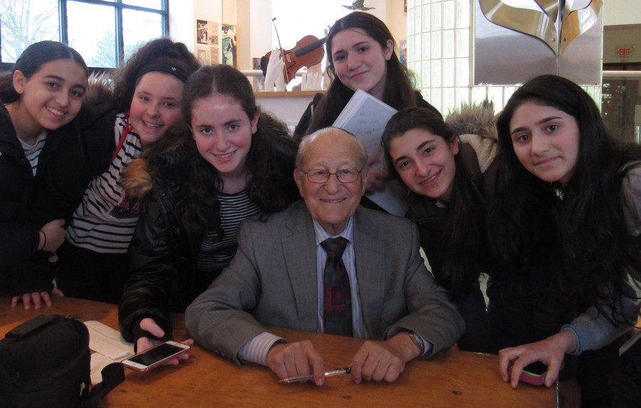 Students at the Yeshiva of Central Queens visited the Holocaust Resource Center in Manhasset to meet with Survivor Irving Roth.