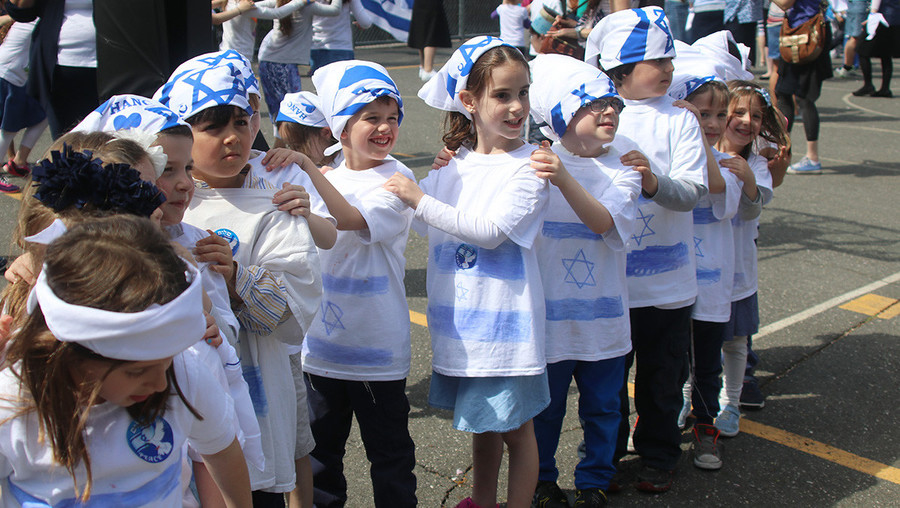 HANC Elementary Yom HaAtzmaaut: Students at the West Hempstead school showed their blue and white.