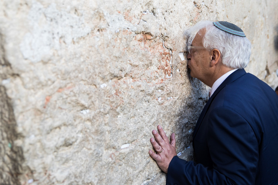David Friedman, on arriving in Israel as the new U.S. ambassador, visited the Western Wall on Monday, May 15.