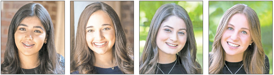 SKA graduation honors recipients are (from left): Valedictorian Nicole Israeli, Salutatorian Sarah Meira Weissman, Salutatorian Shani Axelrod, Keter Shem Tov Chaya Levin.