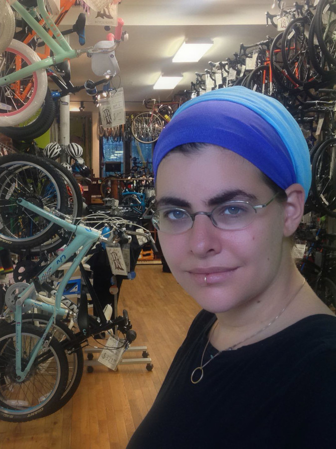 Nechama Levy, who participates in a few Crown Heights independent prayer groups, is involved in another Brooklyn trend: Her bike shop, Bicycle Roots, is also in the neighborhood.
