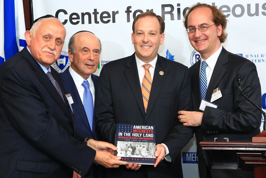 Touro College Executive Dean Robert Goldschmidt, Religious Zionists of America President and Chairman of the Center for Righteousness and Integrity Martin Oliner, Rep. Lee Zeldin (R-NY) of Long Island, and Touro Law Center Dean Harry Ballan.