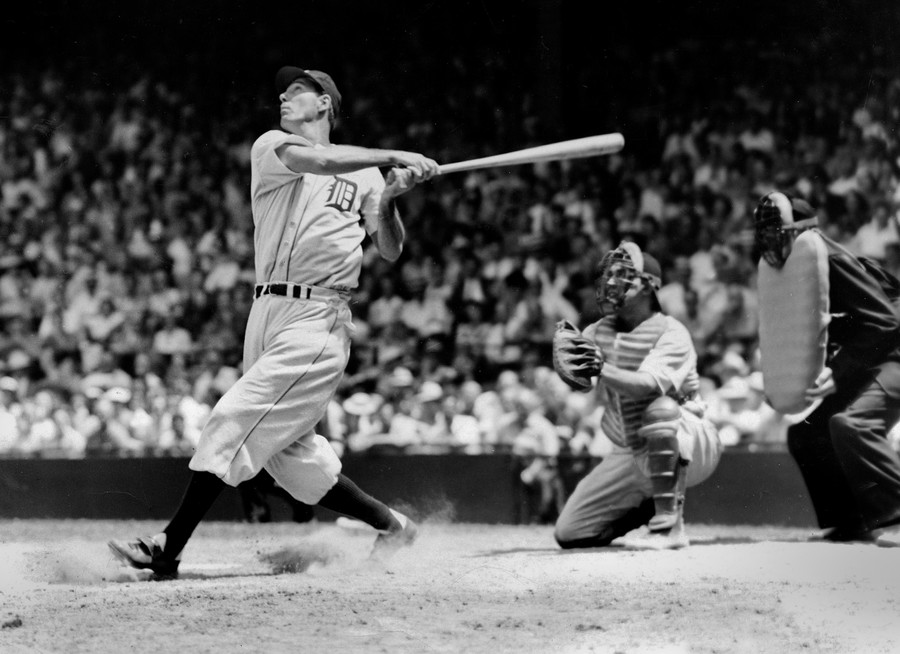 Hall of Famer Hank Greenberg batting for the Detroit Tigers in 1935.