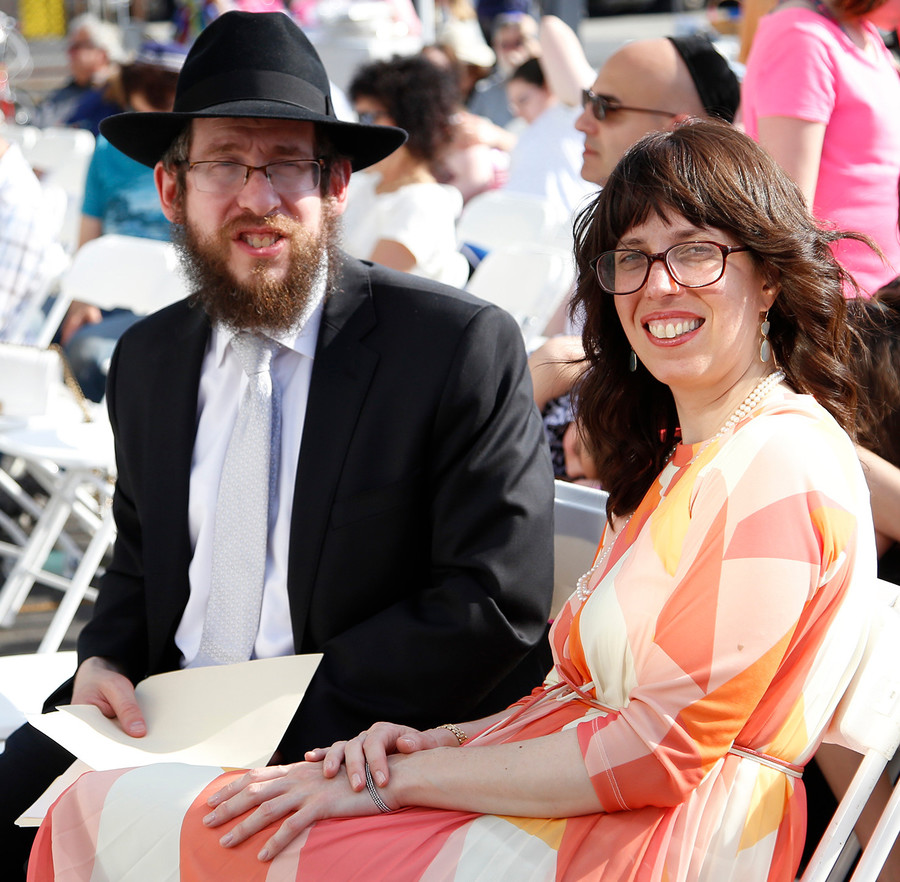 Rabbi Shimon and Rebbetzin Chanie Kramer at Sunday's mikvah ribbon-cutting.