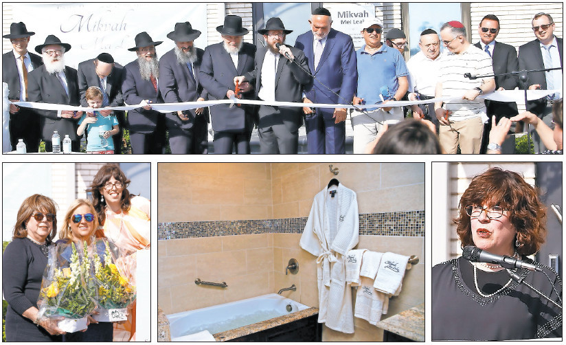 Rebbetzin Chaya Teldon of Mid-Suffolk Chabad (bottom right) speak at Sunday's mikvah dedication at which distinguished guests and supporters cut the ribbon and were acknowledged (some with flowers). Pictured is one of the mikvah's preparation rooms.
