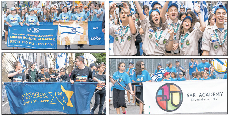 Marchers from Ramaz, Manhattan Day School, SAR … and happy Scouts!