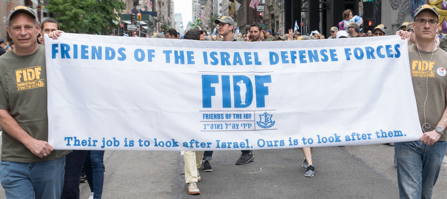 Marchers representing Friend of the Israel Defense Forces.