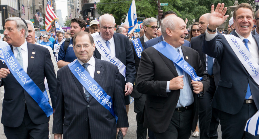 The bigwigs who marched with Governor Andrew Cuomo are (from left) Queens Assemblymember David Weprin, Brooklyn-Manhattan Rep. Jerrold Nadler, Jewish Community Relations Council President Charles Temel, NYS Democrats Vice Chair Steven Cohn, Yoni Peres (son of former Israeli President Shimon Peres), and Cuomo.