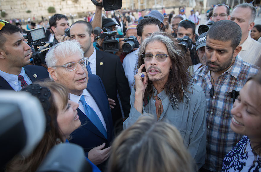 David Friedman, the U.S. ambassador to Israel, encountered Steven Tyler of Aersomith at the Kotel on May 15.