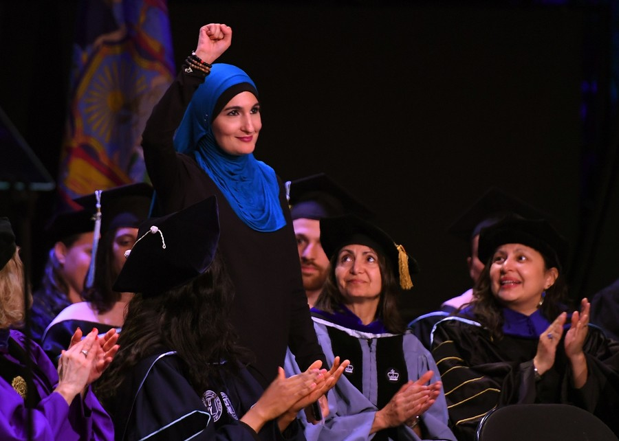 Linda Sarsour speaking at the CUNY Graduate School of Public Health's inaugural commencement ceremony at the Apollo Theater on June 1.