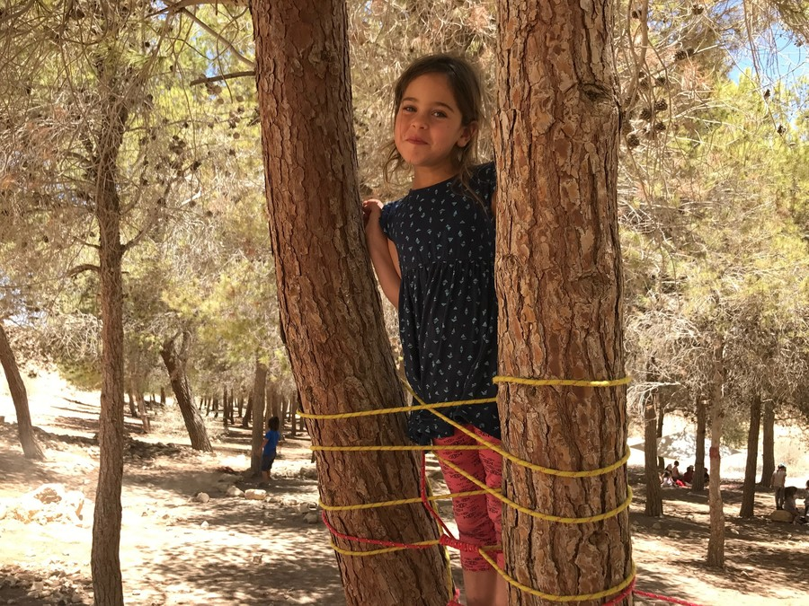 A girl standing on a ladder she built in Mitzpe Ramon