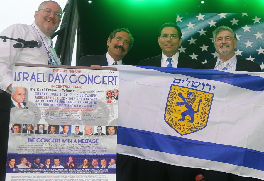 Concert emcee Nachum Segal; organizer Dr. Joe Frager, and Israel's Ambassador to the United Nations Danny Danon
