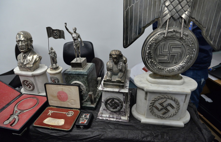Some of the Nazi-era objects discovered by Argentine police.