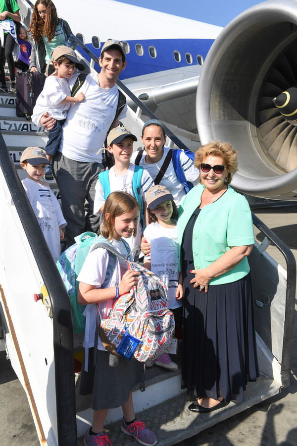 The Bienenfeld family of Plainview were among the first to disembark at Ben Gurion airport.