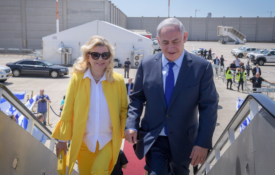 Prime Minister Netanyahu and wife Sara on their way to Greece for a two-day official state visit on June 14.