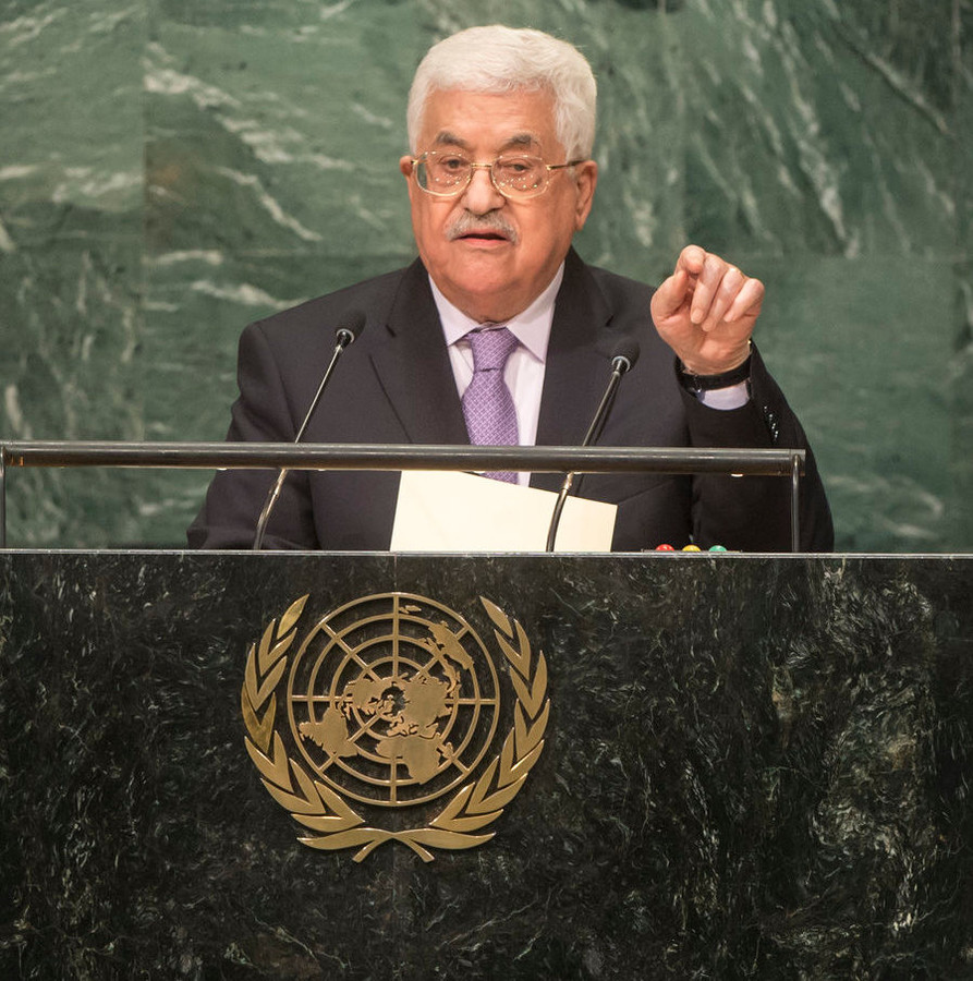 PA President Mahmoud Abbas addresses the UN General Assembly in September 2016.