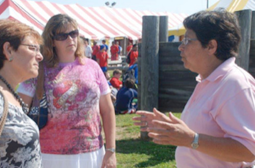 Barbara Simms of the Town of Hempstead Parks and Recreation Department (right) describes the Camp Anchor program to Kulanu Academy Executive Director Dr. Beth Raskin (left) and Kulanu Special Events Coordinator Rachael Berg, during their visit to the Lido Beach facility.