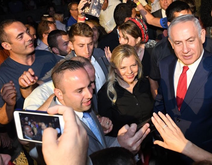 Prime Minister Netanyahu and his wife, Sara, at an event in Barkan, Sama-ria, marking 50 years of settlements in Judea and Samaria.