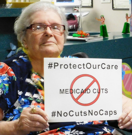 Residents of the Gurwin Jewish Nursing & Rehabilitation Center in Commack participated in a #NoCutsNoCaps social media campaign.
