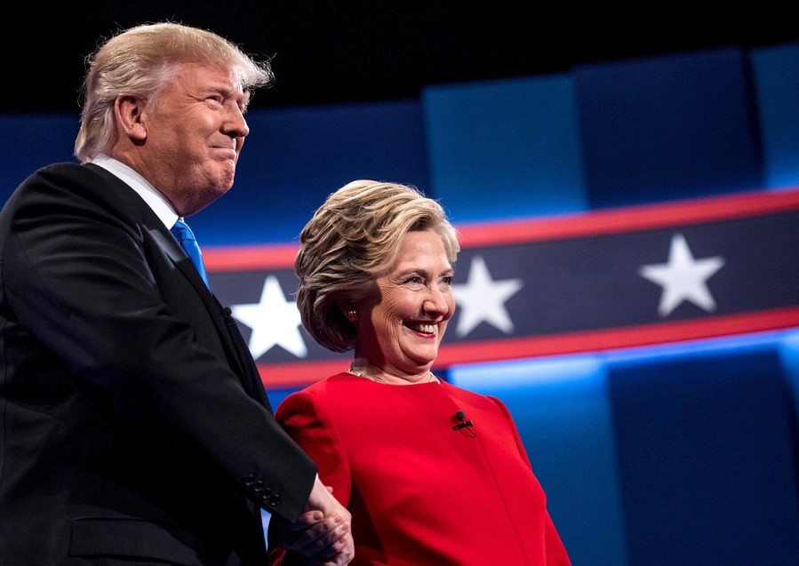 Donald Trump and Democrat Hillary Clinton at their first presidential debate, at Hofstra University in Hempstead.