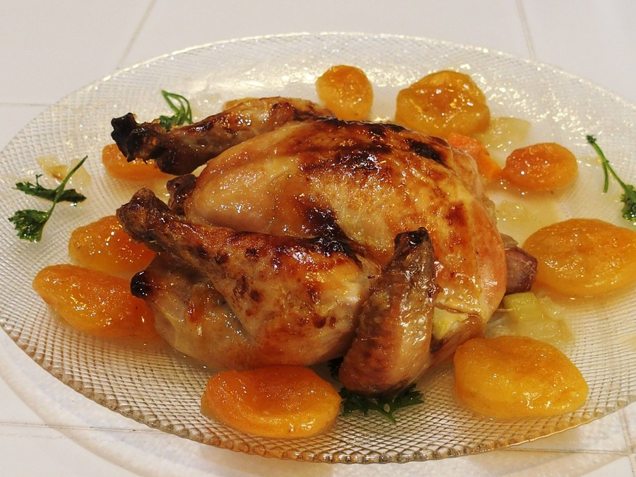 Capon with Sabra, Honey, and Apricot Glaze