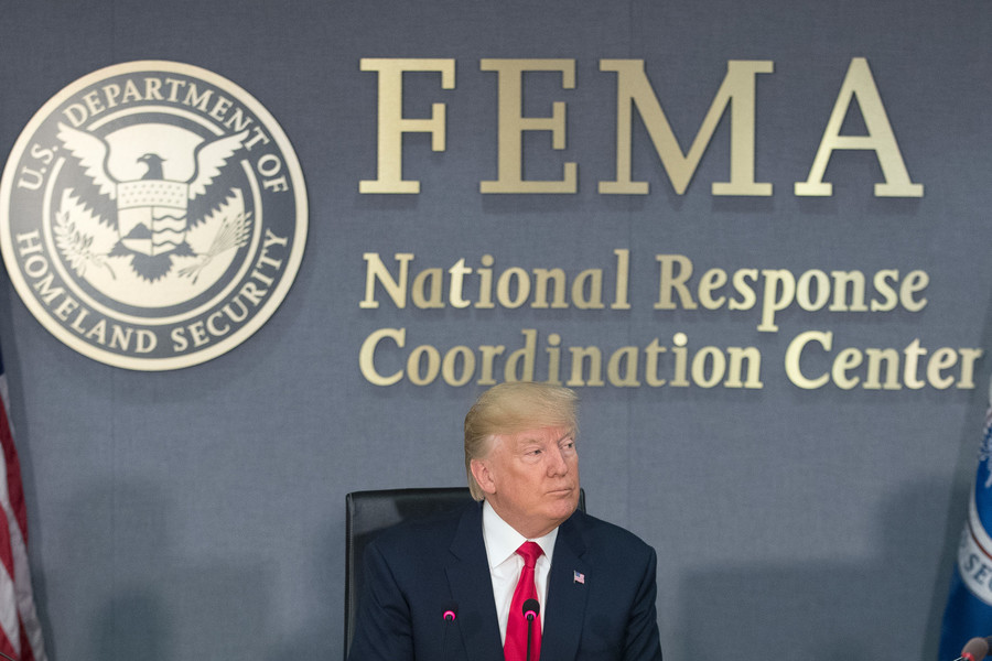 President Trump at FEMA headquarters in Washington.