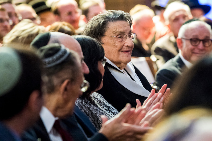 Bubbe at her grandson's investiture as president of Yeshiva University.