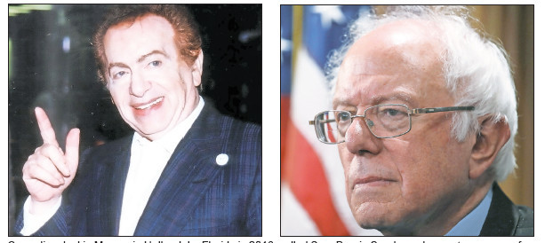 Comedian Jackie Mason, in Hallandale, Florida in 2016, called Sen. Bernie Sanders, shown at a news conference in Washington in 2016, a self-hating Jew.