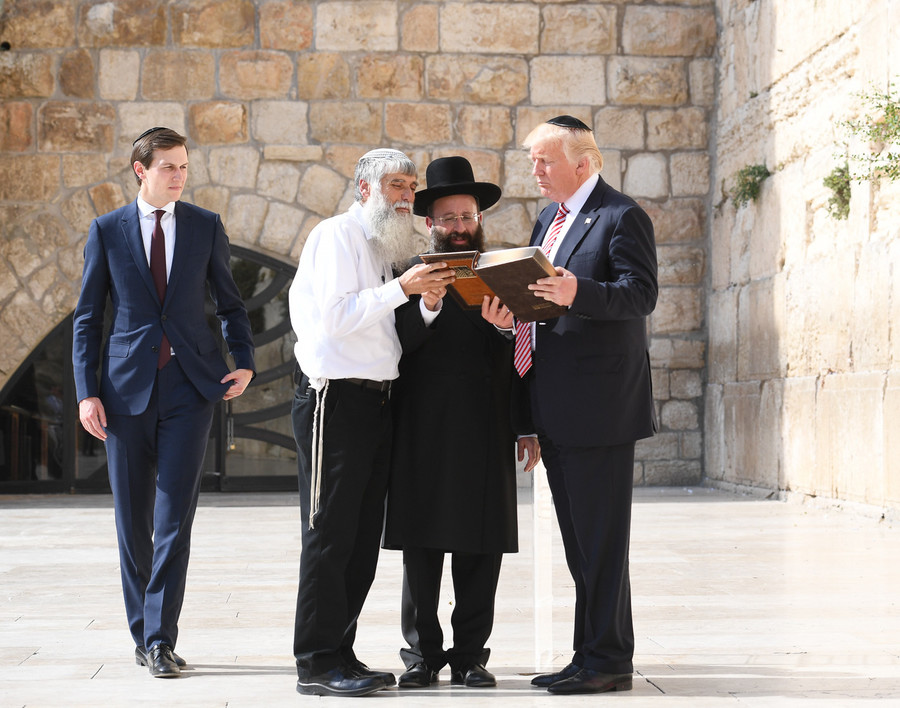 President Trump and Jared Kushner at the Kotel in Jerusalem on May 22.