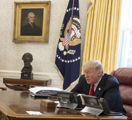 President Trump speaks to Jewish leaders in a conference call at the White House on Sept. 15.