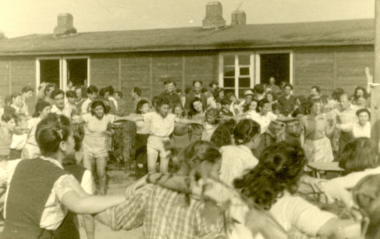 Jews dancing in a DP camp in Germany, September 1947.