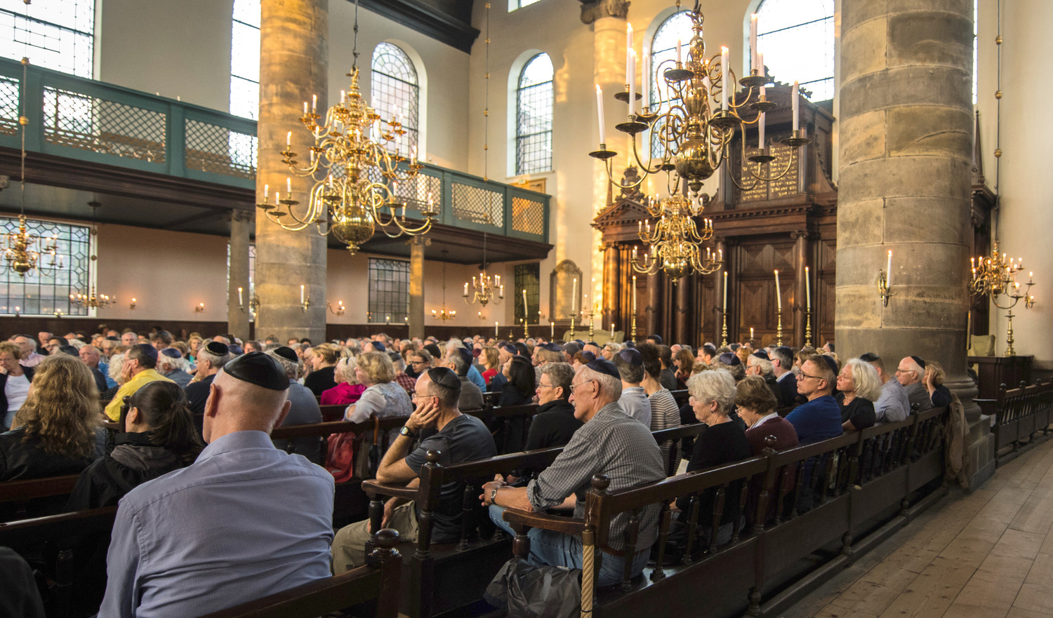 The audience at a jazz concert in Amsterdam's Portuguese Synagogue on Aug. 17.