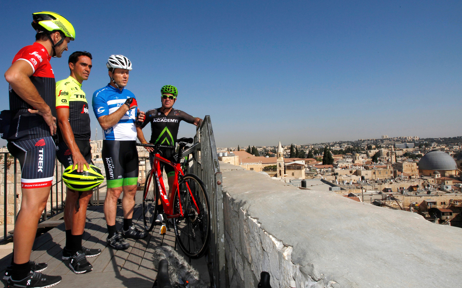 Among those pictured in Jerusalem are Alberto Contador and Ivan Basso, former winners of the Giro d'Italia.
