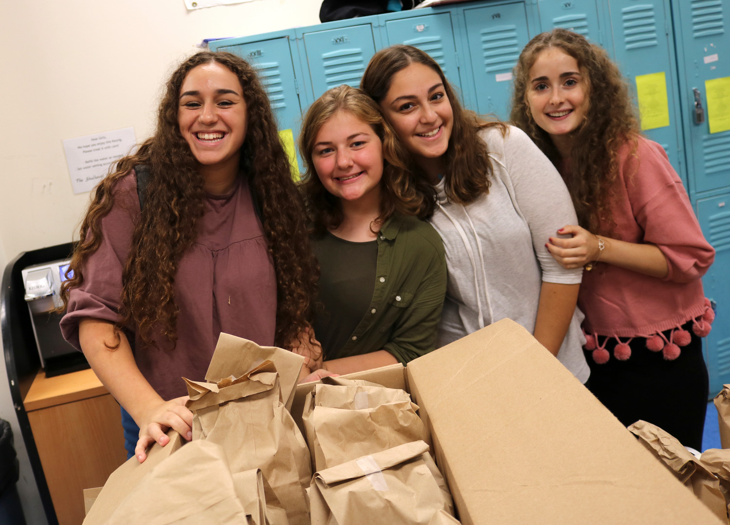 From left: Rachelli Klein of Lawrence, Hadassah Fertig of Woodmere, Shana Schapira of Brooklyn, and Hannah Zerbib of Lawrence.