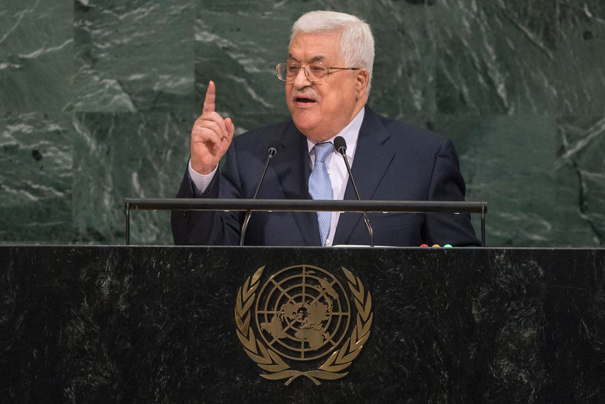 Palestinian Authority President Mahmoud Abbas addresses the general debate of the United Nations General Assembly Sept. 20, 2017.