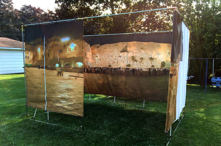A view of a Panoramic Sukkah from the outside.
