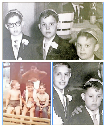 "Top photo from left: The three generals on Jerry's team at Turkins — David Steinberg, Jerry, and brother Seme. Bottom left photo: Jerry (standing) and (from left) Leslie Kellner a""h, Tommy, and Harry Zlotnick. Bottom right photo: Big (Harold Altman) with Jerry."