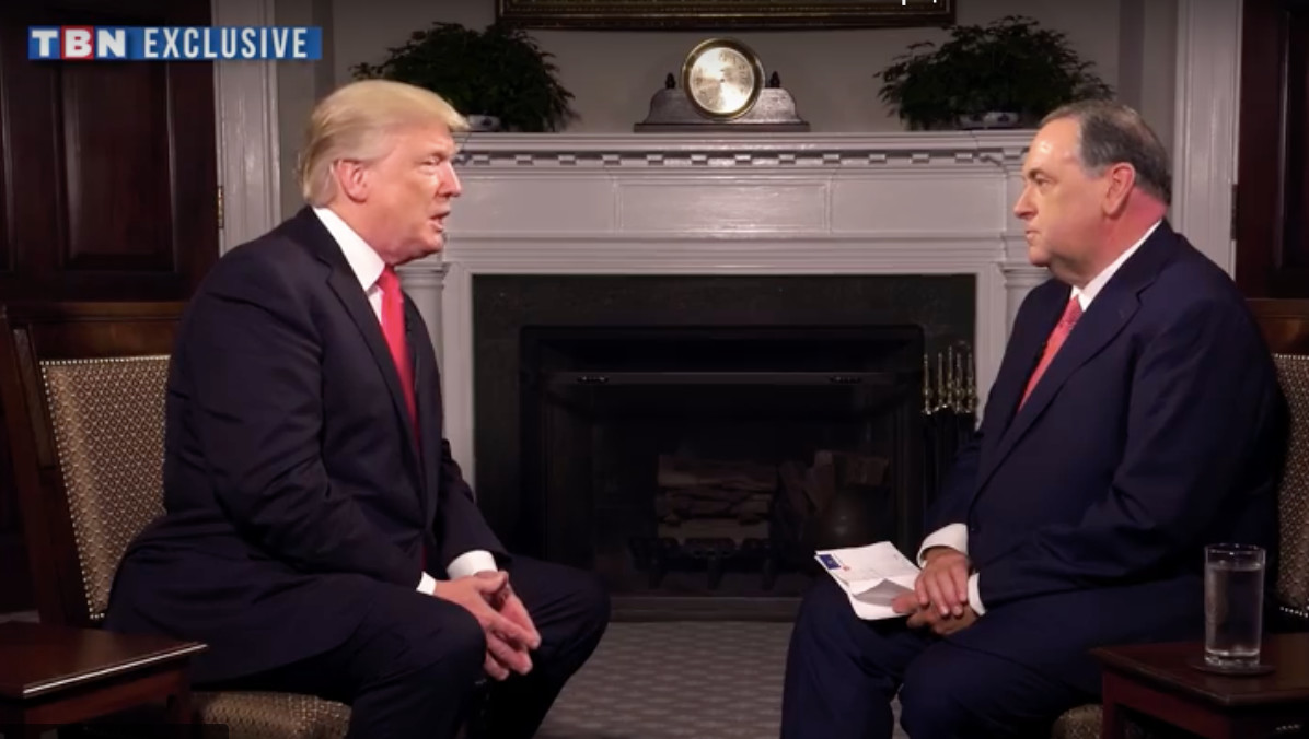 President Trump speaks with Mike Huckabee on Huckabee's TBN program that aired on Saturday.