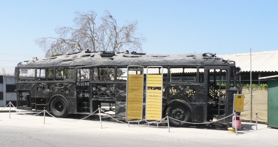 The remains of the Israeli bus hijacked by Palestinian terrorists in 1978.