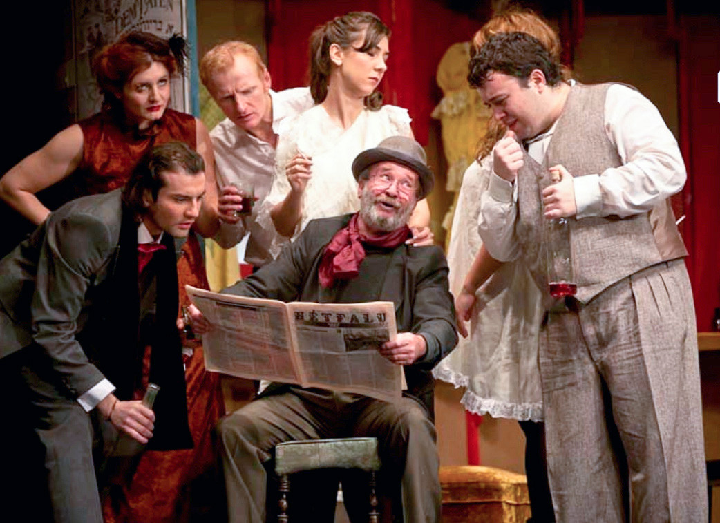 Nicolae Botezatu, sitting, with the rest of the cast of Romania's Jewish State Theater last year.