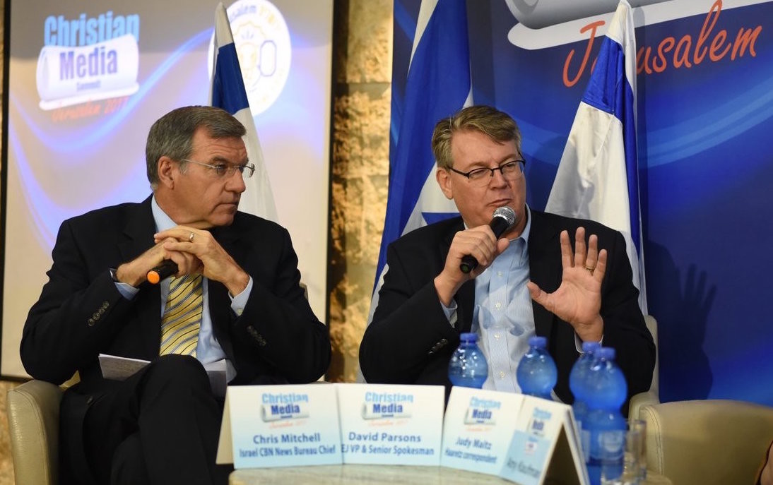 David Parsons, vice president and senior international spokesman for the International Christian Embassy Jerusalem, speaks on a panel at Israel's Christian Media Summit.
