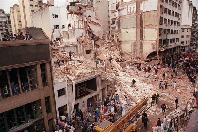 Remains of the AMIA Jewish center after the 1994 bombing in Buenos Aires, Argentina.