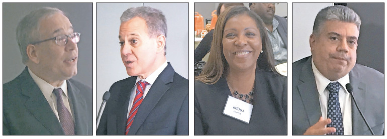 Among elected officials at Agudath's reakfast, from left: NYC Comptroller Scott Stringer, state Attorney General Eric T. Schneiderman, NYC Public Advocate Letitia James, and Acting Brooklyn District Attorney Eric Gonzalez.